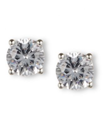 Image of Nine West Earrings, Silver-Tone Round-Cut Crystal Stud Earrings