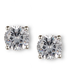 Nine West Earrings, Silver-Tone Round-Cut Crystal Stud Earrings