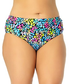 California Waves Trendy Plus Size Ditsy-Floral Mid-Rise Bikini Bottoms, Created for Macy's