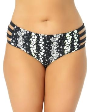 Trendy Plus Size Strappy Floral Mid-Rise Bikini Bottoms