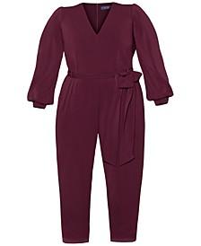 Plus Size Lantern-Sleeve Crepe Jumpsuit