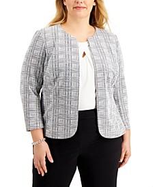 Plus Size Plaid Open-Front Jacket