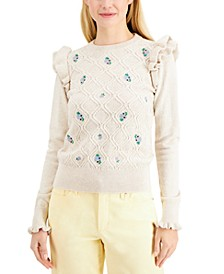 Petite Ruffled Floral Sweater, Created for Macy's