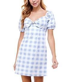 Juniors' Tie-Front Gingham A-Line Dress