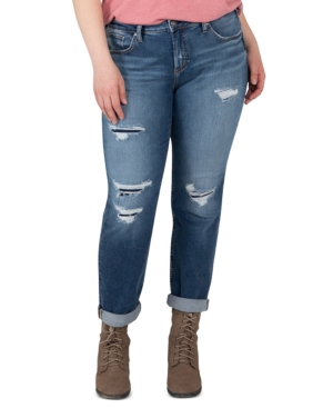 Silver Jeans Co. TRENDY PLUS SIZE BEAU RIPPED GIRLFRIEND JEANS