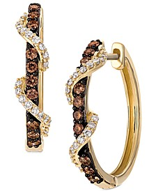 Chocolate Diamond & Vanilla Diamond Twist Hoop Earrings (1/2 ct. t.w.) in 14k Gold