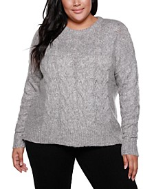 Black Label Plus Size Crew Neck Exploded-Cable Pullover Sweater