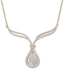 Diamond Teardrop Cluster Fancy Statement Necklace (1 ct. t.w.) in 14k Gold