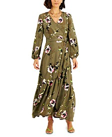 Floral-Print Belted Wrap Maxi Dress, Created for Macy's