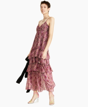 Printed Tiered Ruffled Maxi Dress