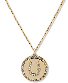 "Gold-Tone Pavé Horseshoe Pendant Necklace, 16"" + 3"" extender"