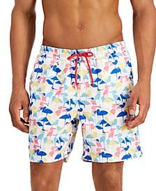 "Men's Regular-Fit Quick-Dry Abstract Stork-Print 7"" Swim Trunks, Created for Macy's"