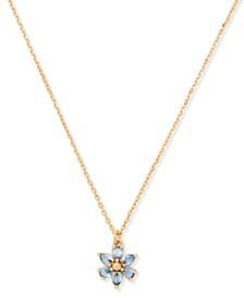 "Gold-Tone Cubic Zirconia Flower Mini Pendant Necklace, 16"" + 3"" extender"