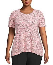 Plus Size Printed High-Low T-Shirt