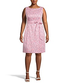 Plus Size Printed Belted Fit & Flare Dress
