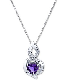 "Amethyst (3/4 ct. t.w.) & Diamond (1/20 ct. t.w.) Swirl 18"" Pendant Necklace in 10k White Gold"