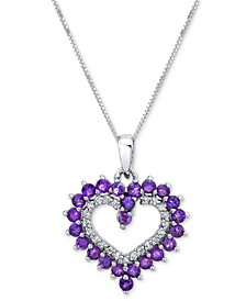 "Amethyst (7/8 ct. t.w.) & Diamond (1/10 ct. t.w.) Open Heart 18"" Pendant Necklace in 10k White Gold"