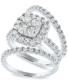 IGI Certified Diamond Cluster 3-Pc. Bridal Set (2 ct. t.w.) in 14k White Gold