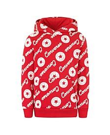 Big Boys Repeat Logo Print Pullover Hoodie