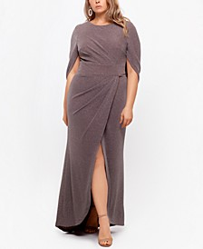 Plus Size Drape-Back Shimmer Gown