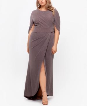 Plus Size Drape-Back Shimmer Gown