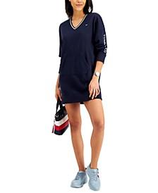 V-Neck Sweatshirt Dress