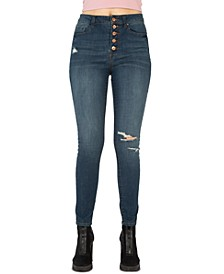 Juniors' Stevie High-Rise Button-Fly Jeans
