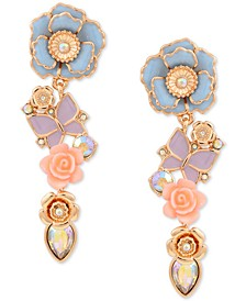 Gold-Tone Flower Garden Butterfly Linear Earrings