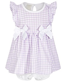Baby Girls Gingham Bow Cotton Sunsuit, Created for Macy's