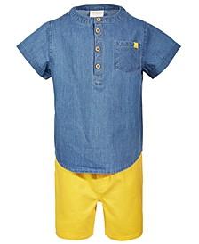 Baby Boys 2-Pc. Chambray Shirt & Shorts Set, Created for Macy's