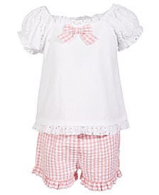 Toddler Girls 2-Pc. Lace Top & Gingham Shorts Set, Created for Macy's