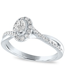 Diamond Oval Halo Engagement Ring (1/2 ct. t.w.) in 14K White Gold
