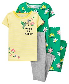 Big Girls 4 Piece Floral Snug Fit Pajama Set