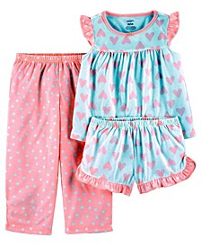 Toddler Girls 3 Piece Hearts Loose Fit Pajama Set