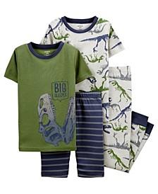 Big Boys 4 Piece Dinosaur Snug Fit Pajama Set
