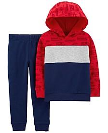 Toddler Boys 2 Piece Firetruck Hoodie Jogger Set