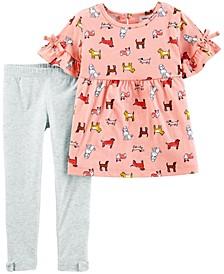 Toddler Girls 2 Piece Dog Jersey Top Legging Set