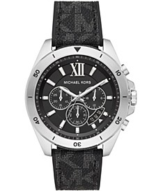 Men's Brecken Chronograph Black Signture Logo Strap Watch 45mm
