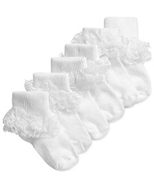 Baby Girls 3-Pairs White Lace Anklet Socks, Created for Macy's