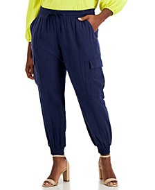 INC Plus Size Utility Satin Jogger Pants, Created for Macy's