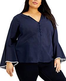 Plus Size Cotton Flounce-Sleeve Top