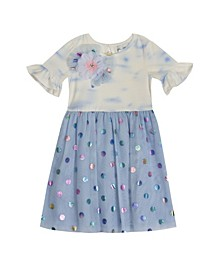 Toddler Girls Tye Dye to Foil Mesh Skirt Dress