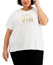 Plus Size Glitter-Logo T-Shirt