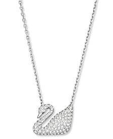 "16"" Silver Tone Crystal Swan Pendant Necklace"