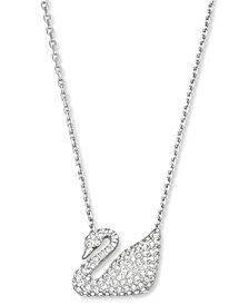 "Swarovski 16"" Silver Tone Crystal Swan Pendant Necklace"