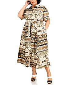 Plus Size Printed Midi Shirtdress