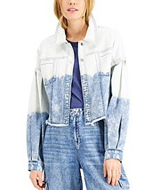 INC Volume-Sleeve Cropped Jean Jacket, Created for Macy's