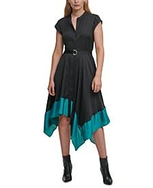 Handkerchief-Hem Belted Dress
