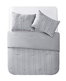 Delaney Seersucker Stripe 3 Piece Comforter Set, King