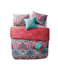Casa Real Damask Reversible 4 Piece Comforter Set, Twin XL